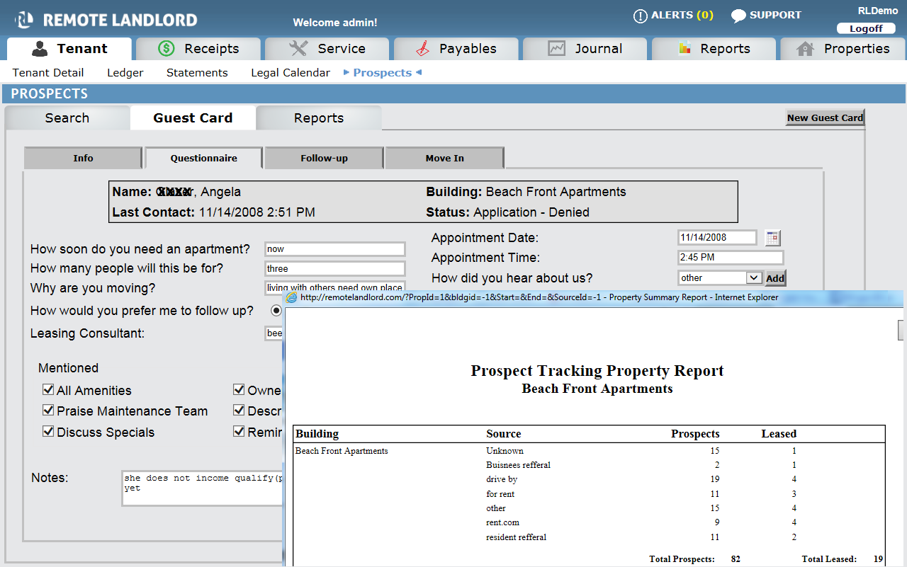when the tenant is ready to sign a lease the data gets imported into the tenant manager module the software provides a seamless transition from leasing